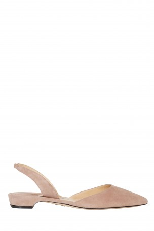 Rhea Suede Point-Toe Flats in Neutrals