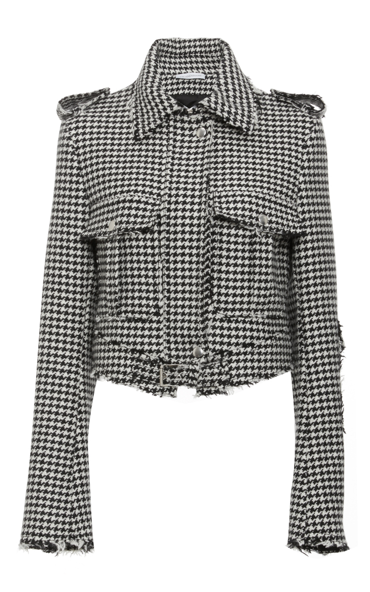 Women'S Cropped Houndstooth Jacket In Black And White, Black White
