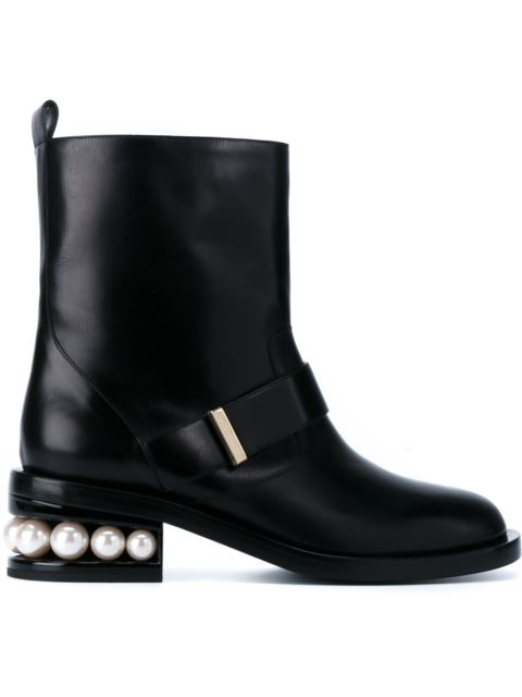 NICHOLAS KIRKWOOD Leather Boots With Pearl Heel Embellishment, Black