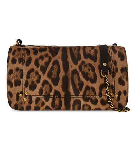 Jerome Dreyfuss Bobi Small Calf Hair Shoulder Bag, Leopard