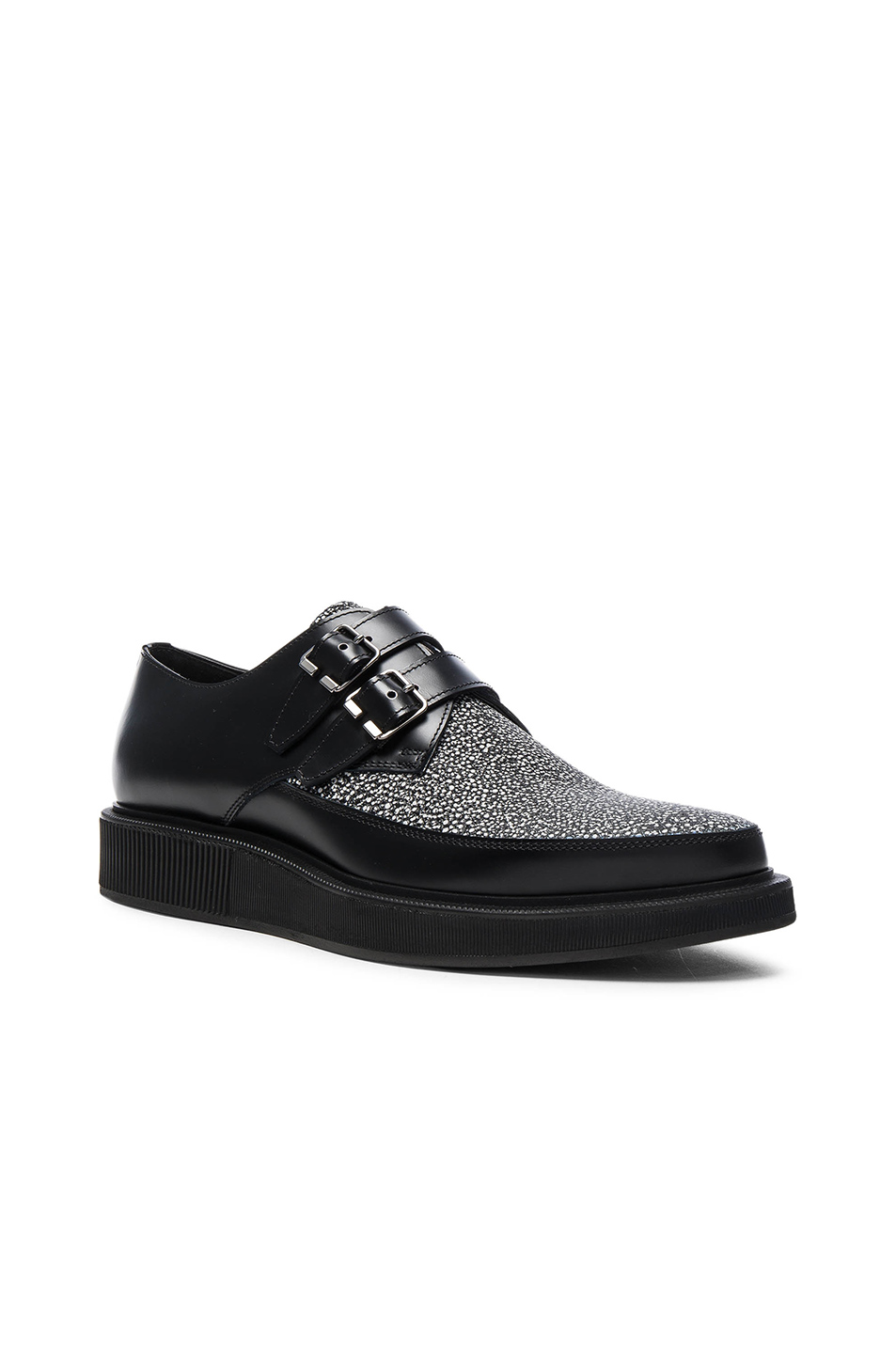 Clearance Discount Lanvin Contrast Leather Monk Shoes in Black Shopping Online Sale Online 0KwtVqk