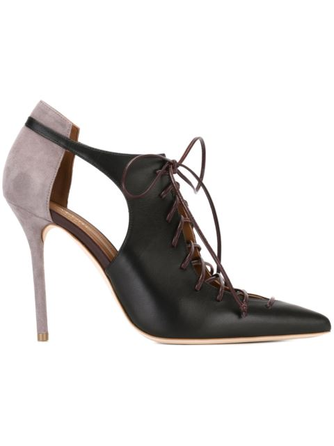 Suede And Leather Lace-Up Pumps With Cut-Outs in Black