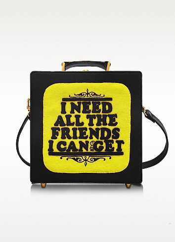 7 Inch I Need All The Friends I Can Get Cotton Handbag in Black
