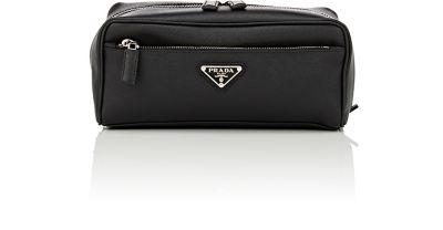 Saffiano Leather-Trimmed Nylon Wash Bag, Black