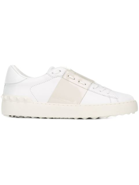 Open Leather Sneakers With Patent Band, White/Beige