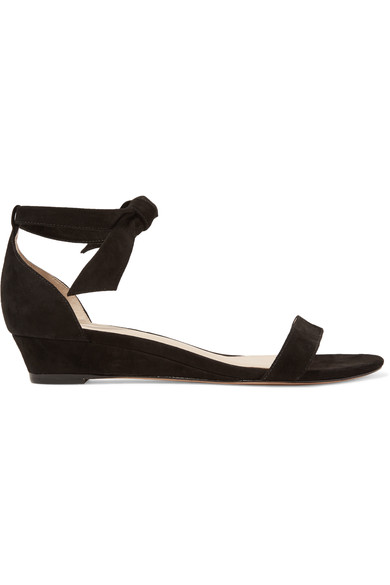 Atena Bow-Embellished Suede Wedge Sandals, Usd