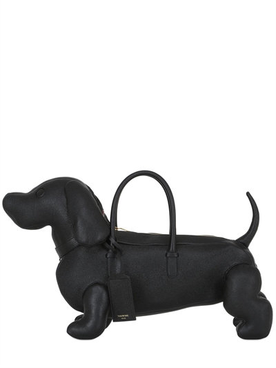 Hector Dog-Shaped Pebbled Leather Bag, Black