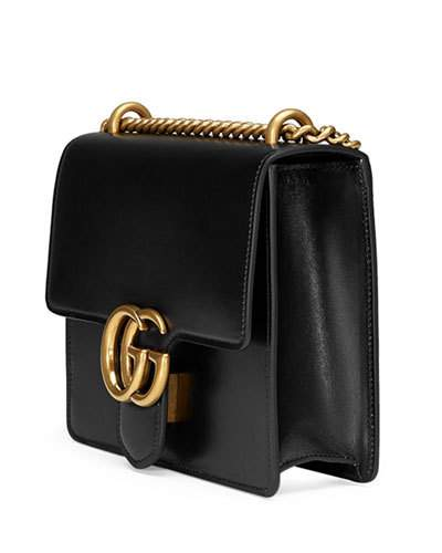 GUCCI Gg Marmont Small Leather Shoulder Bag, Black | ModeSens