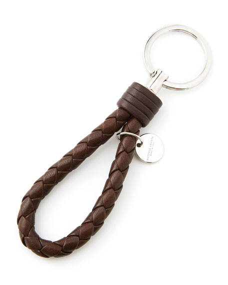 BOTTEGA VENETA Men'S Intrecciato Leather Loop Key Chain, Brown