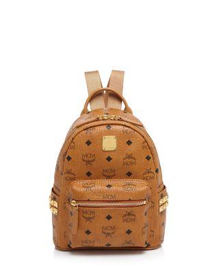 Mini Stark Side Stud Coated Canvas Backpack - Brown, Cognac