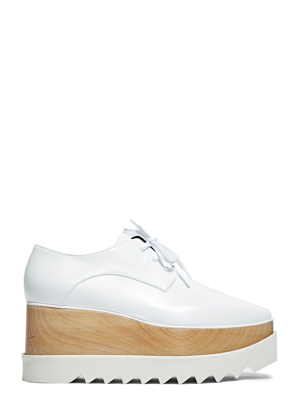 75Mm Elise Faux Leather Wedged Shoes, White