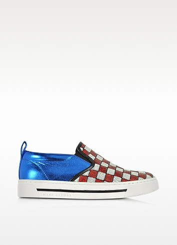 Woman Sequin-Embellished Smooth And Metallic Cracked-Leather Slip-On Sneakers Red in Red/White