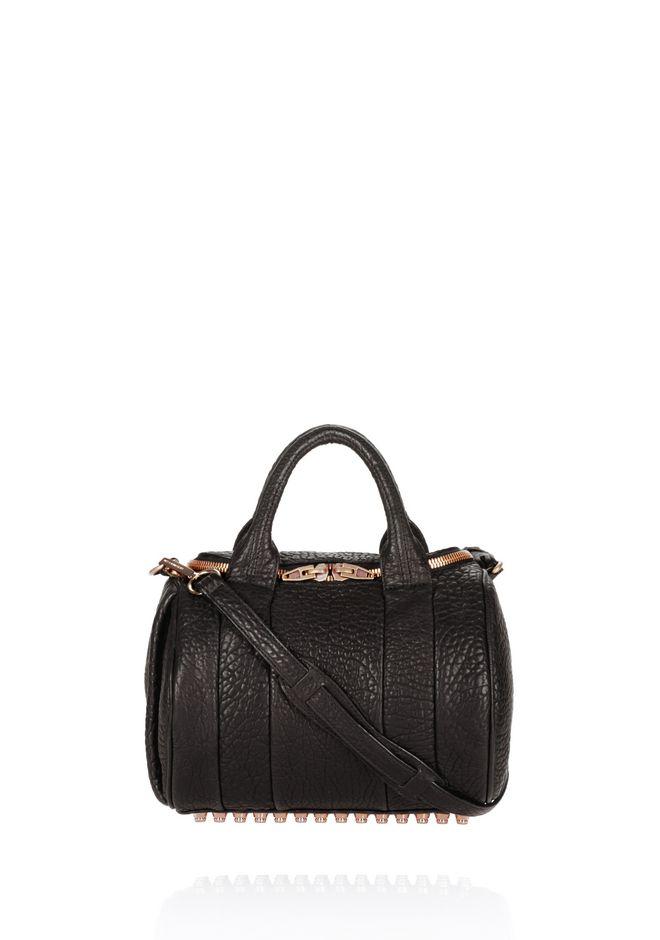 Rockie Black Pebbled Leather Satchel W/Rose Gold Studs