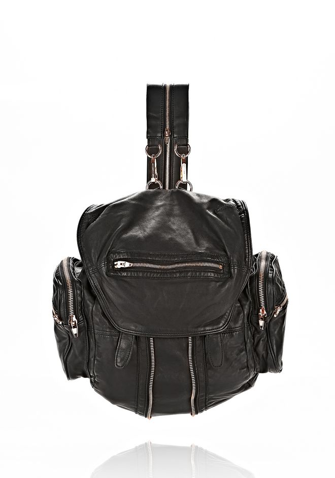 'Mini Marti' Washed Leather Three-Way Backpack, Black