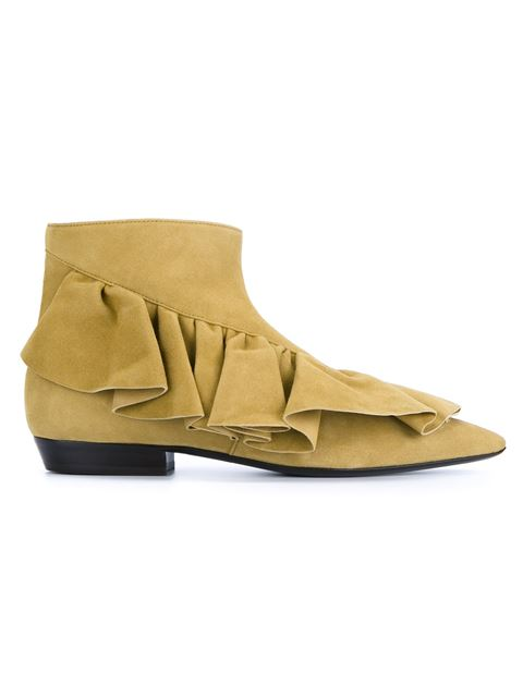 Jw Anderson Ruffle Ankle Boots - Nude & Neutrals