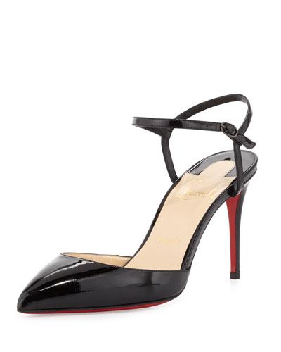 CHRISTIAN LOUBOUTIN Riverina Patent Leather Ankle-Strap Slingback Pumps, Black  Patent
