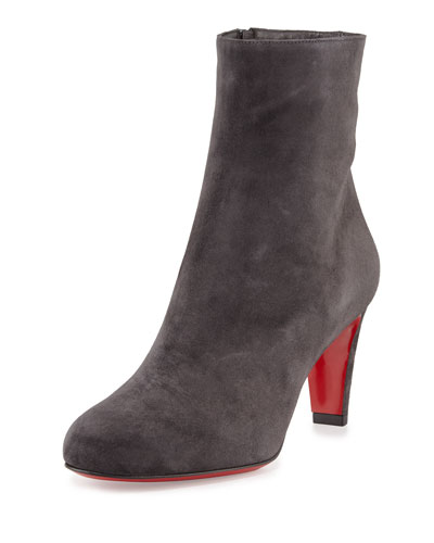 Top 70 Suede Red Sole Ankle Boot, Charcoal Gray