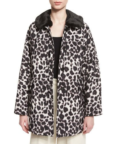 Leopard-Print Coat With Faux-Fur Collar, Ivory/Multi, Ivory Multi