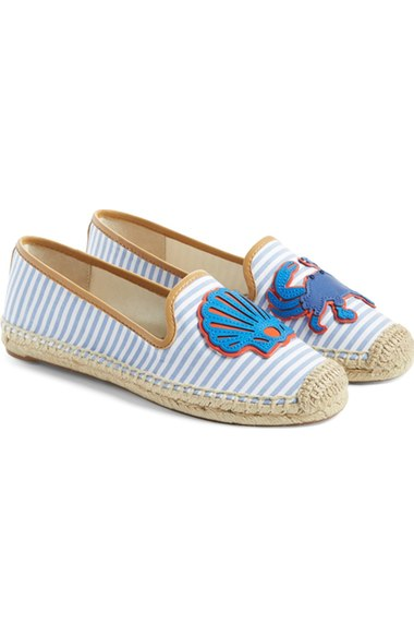a5e26dd4012 ... order tory burch crab striped espadrille flat chicory ivory blue white  striped fabric a5e29 12be3