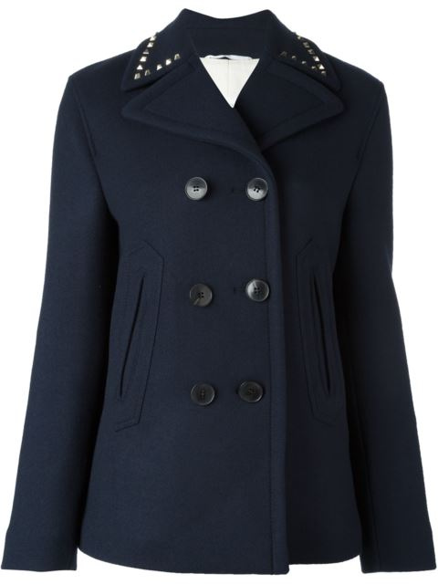 Rockstud Untitled #2 Double-Faced Pea Coat in Blue
