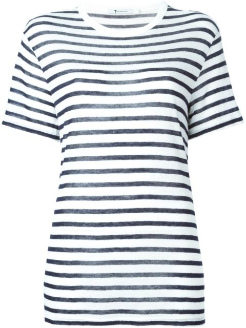 T BY ALEXANDER WANG Alexanderwang.T Ivory And Navy Striped Cropped T-Shirt in Blue