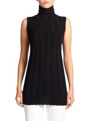 DEREK LAM Sleeveless Cashmere & Silk Turtleneck in Black