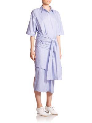 Woman Martine Tie-Front Houndstooth Cotton-Poplin Midi Dress Blue, Light Blue