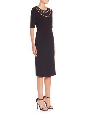 Minnie Cutout Stretch-Crepe Pencil Dress in Black