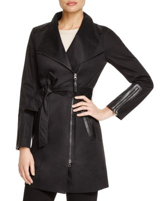 MACKAGE Estela Belted Trench Coat W/ Contrast Zippers in Black