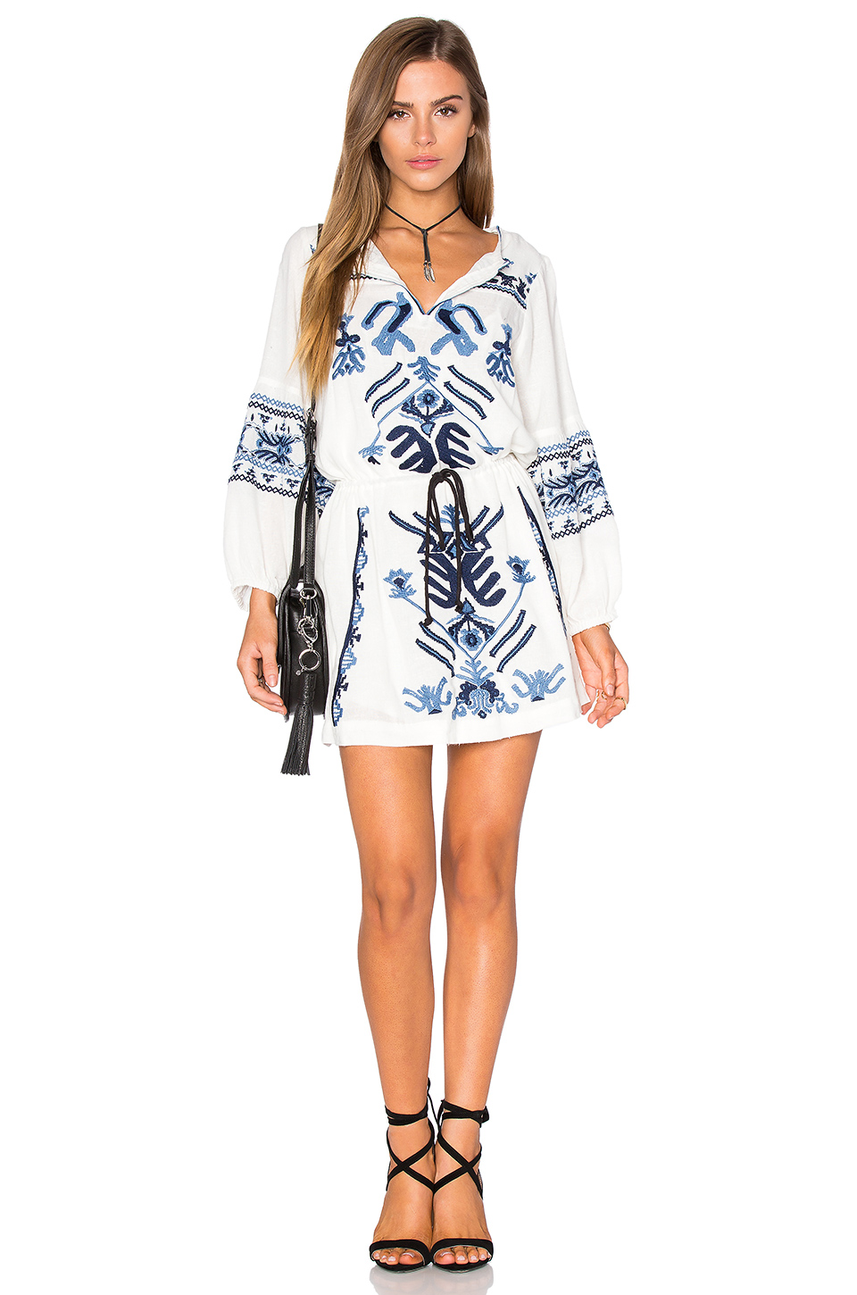 FREE PEOPLE ANOUK EMBROIDERED MINI DRESS, IVORY COMBO
