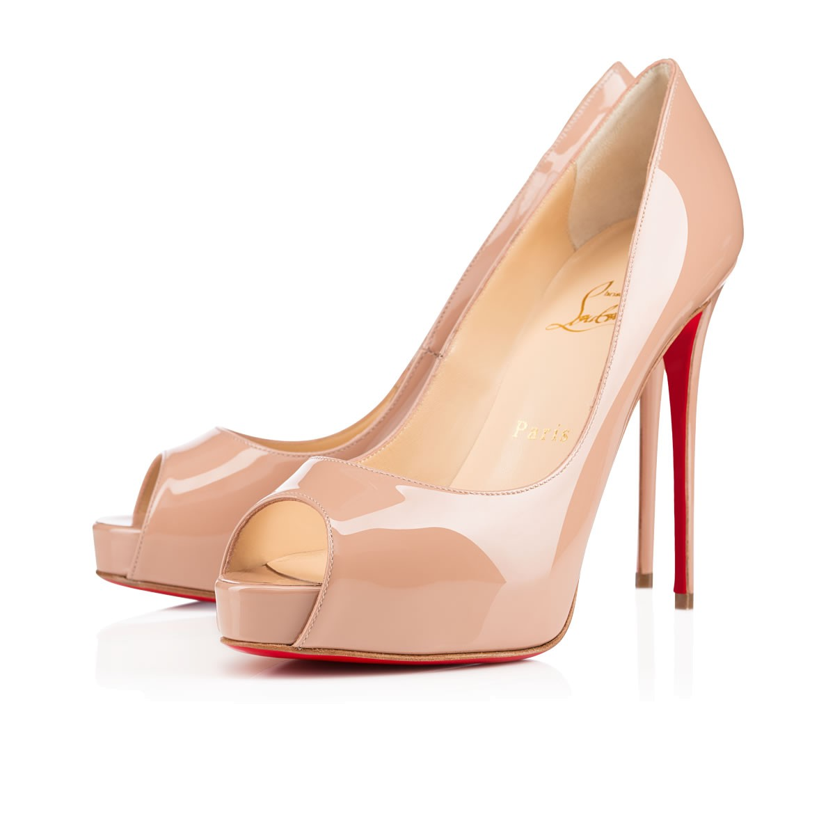 New Very Prive 120 Patent Leather Peep Toe Pumps in Nude