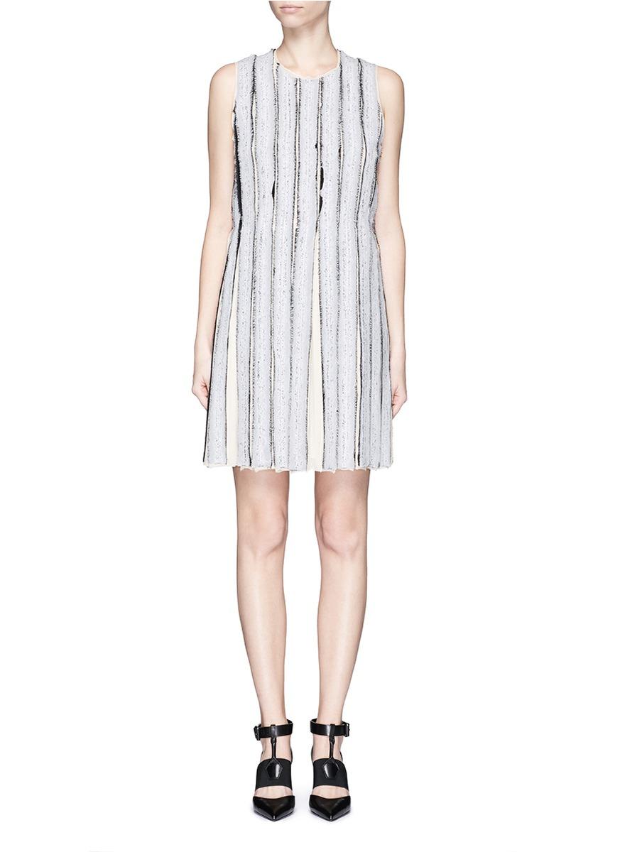 Sleeveless Needle-Punch Shift Dress, White/Black/Ecru, White/ Black/ Ecru