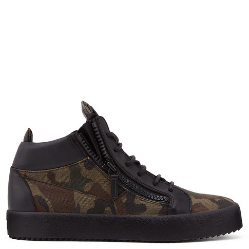 Giuseppe Zanotti Green camouflage leather mid-top sneaker KRISS