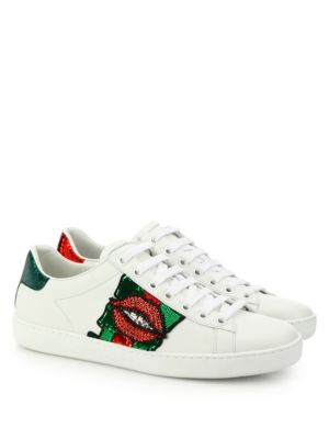 Ace Lip-Embroidered Leather Low-Top Sneakers, White