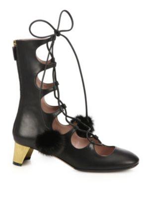 Heloise Embellished Lace-Up Leather Ankle Boots in Black