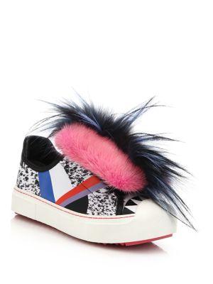 'Fflynn' Genuine Mink & Genuine Fox Fur Trim Low Top Sneaker (Women), Multi
