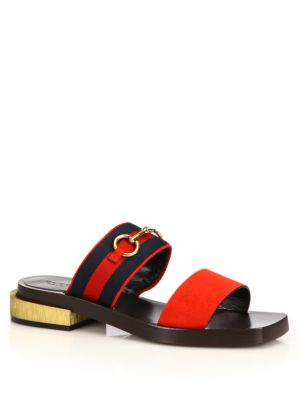 8341112c0 Gucci Querelle Flat Horsebit Web Slide Sandal