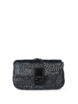 Micro Baguette Bag With Pearls Embroidery in Blue
