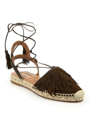 Aquazzura Lace-Up Espadrille Flats Order Cheap Online Official Online Buy Cheap Pay With Visa Marketable Cheap Price 5J8imE1JL