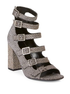 05733a41a550 SAINT LAURENT BABIES 90 MULTI STRAP SANDAL IN GOLD AND SILVER WOVEN COTTON  AND METALLIC POLYESTER