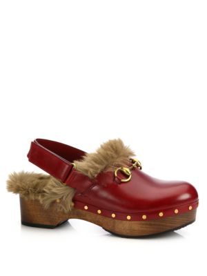 'Amstel' Genuine Kangaroo Fur Clog (Women), Red Leather