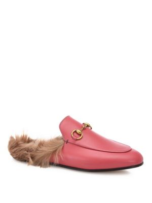 Princetown Horsebit-Detailed Shearling-Lined Leather Slippers, Pink-Multi