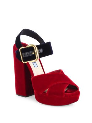 PRADA Bicolor Two-Tone Velvet Crisscross Platform Sandals, Cherry-Blue