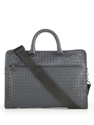 BOTTEGA VENETA Leggeron Intrecciato Leather Briefcase, Grey