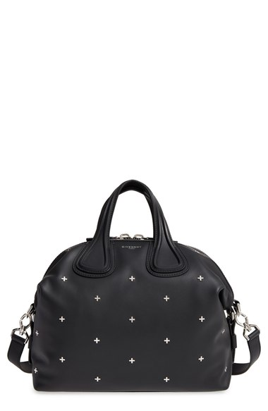 GIVENCHY Nightingale Micro Black Leather Satchel Bag W/Metal Cross in Nero