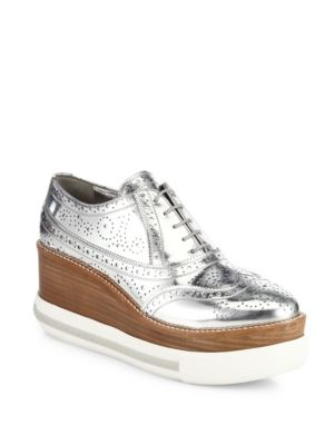 Outlet Excellent The Best Store To Get Miu Miu Metallic Platform Oxfords 10IOQ7