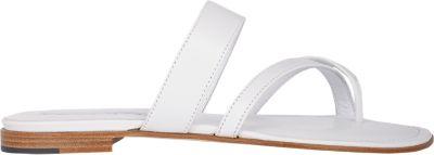 MANOLO BLAHNIK Susa Leather Low-Heel Sandal, White