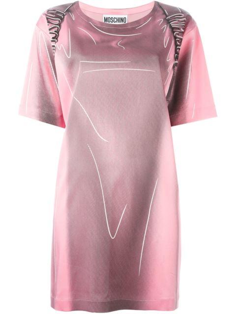 Shadow Printed Stretch Enver Satin Dress, Pink/Black, Pink & Purple