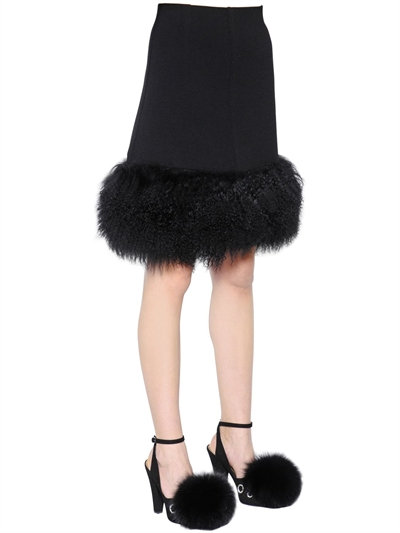 Mongolia Fur & Wool Crepe Skirt, Black