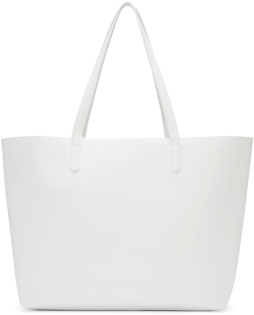 Large Saffiano Leather Tote Bag, White